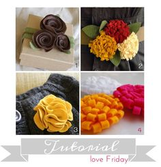 4 felt flower tutorials....I found a huge bag of felt at a garage sale...wahoo, something to do with it all