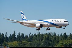 El Al Israel airlines' first Boeing Dreamliner landing after getting fully painted Aeroplane Flight, Boeing 787 9 Dreamliner, All Airlines, Civil Aviation, World Pictures, Landing, Israel, Aircraft, Airports