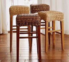 backless seagrass barstools.