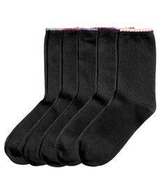 Sort/Multifarget. Finstrikkede sokker med buklet kant øverst.