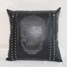 designer skull retro style punk cushions in unique, unusual leather design for him and her call our stamford, Rutland furniture shop today 01780 435060 Skeleton Bones, Unique Gifts For Men, Halloween Gifts, Gift Store, Leather Design, Black Faux Leather, Vintage Inspired, Cushions, Fancy