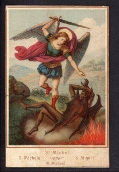 Saint Michael w/ devil  anitque  holy card on cardboard