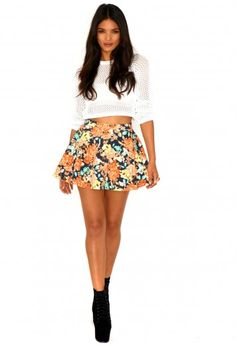 Kailey Floral Swing Skirt - Skirts - Missguided