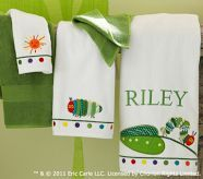 Pottery Barn Very Hungry Catepillar bath towels-monogramed
