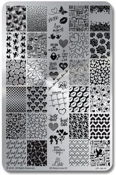 Olivia Jade Nails: Lina Nail Art Supplies All About Love 02 grinch nail stamping plate - Nail Stamping Stamping Nail Polish, Nail Stamping Plates, Nail Plate, Doodle Patterns, Zentangle Patterns, Heart Patterns, Zentangles, Print Patterns, Pattern Ideas