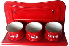 """""""Circa 1890 Dutch red enamel hanging laundry shelf with three bowls that originally held sand, soap and soda for cleaning."""""""
