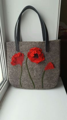 "Bag of felt ""Poppies"" Handbags handmade. Buy Bag of felt 'Poppies'. Handmade Handbags, Handmade Bags, Felt Purse, Felt Bags, Buy Bags, Patchwork Bags, Denim Bag, Bag Making, Wool Felt"
