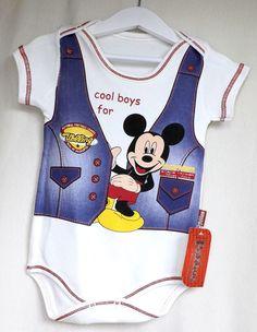 Mickey Mause Baby Kurzam  Body - Babybody für Junge Gr. 62-68-74 /BBJ10/