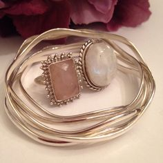 Vintage rose quartz and moonstone beauties styled with wavy sterling bangles--boho chic gem stone love❤️