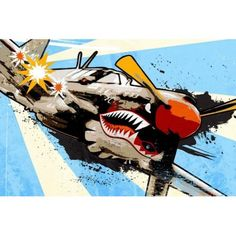 P40 Warhawk Painting Print on Wrapped Canvas, Size: 18 inch x 12 inch, Multicolor