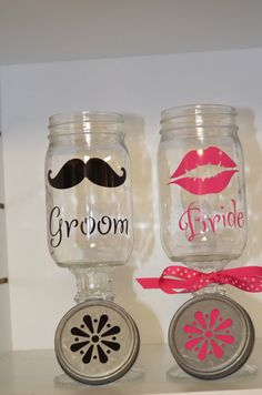 Lips and Mustache Bride and Groom Redneck Girl Wine Glass Set of 2