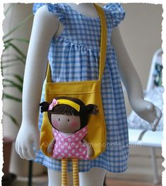 """sewing Thought I'd post a picture of My Teeny-Tiny Doll® (MTTD) Chloe and Carry-Me Tote Bag Set I made for a friend of mine. The bag was made using a Michelle's Pattern as a base structure while the """"ca. Tiny Dolls, Soft Dolls, Softies, Doll Carrier, Sewing Dolls, Handmade Bags, Handmade Dolls, Fabric Dolls, Rag Dolls"""