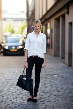 My vintage Ralph Lauren Man shirt with my skinnies and loafers would be a perfect copy. Now if I could just look like her:)