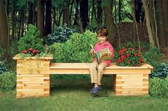 7 outdoor seating projects for the Build a planter bench. Assemble a stationary bench between sturdy planters made from stacked cedar boards. Outdoor Planters, Diy Planters, Outdoor Gardens, Outdoor Toys, Outdoor Spaces, Backyard Projects, Outdoor Projects, Garden Projects, Weekend Projects