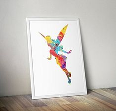 Tinker bell Inspired Watercolour Poster - Peter Pan - Alternative TV/Movie Prints in Various Sizes(Frame Not Included) Peter Pan, Tinkerbell, Movie Prints, Kids Bedroom, Movie Tv, Alternative, Poster, Invitations, Watercolor