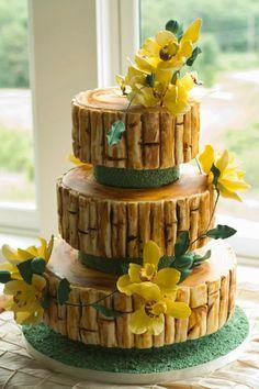 Yellow Flowers & Bamboo Cake Art