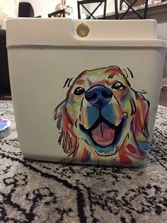 dog on cooler Fraternity Coolers, Frat Coolers, Sorority Canvas, Sorority Paddles, Sorority Recruitment, Sorority Life, Formal Cooler Ideas, Cooler Connection, Bubba Keg