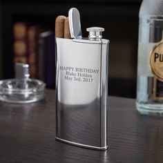 2-in-1 Cigar Holder and Flask (Engravable) Home Wet Bar, Cigar Holder, Diy Wedding Gifts, Diy Gifts, Wedding Ideas, Wedding Things, Wedding Planning, Cigar Tube, Whiskey Gifts