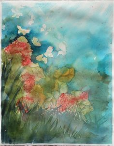 spring garden floral watercolor painting, flowers moths butterflies abstract pastel. $185.00, via Etsy.