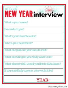 New Year's Interview for Kids (Free Printable) | Our Knight Life #newyearsforkids #freeprintable
