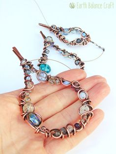 Rain Drops Suncatcher with Copper Wire, Glass and Gem Stones.