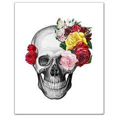 "Vintage Skull and Roses - ART Print 8 x 10"" on Etsy, $19.00"