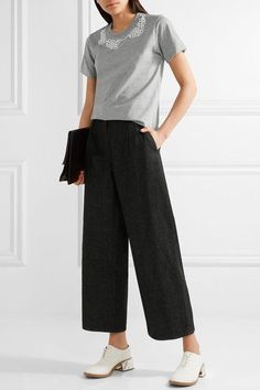 Comme des Garçons Comme des Garçons - Jupe By Jackie Faux Pearl-embellished Cotton-jersey T-shirt - Gray -