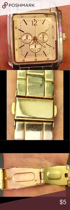 Gold watch Gold square watch with clasp. Has been loved. Goes with everything! target Accessories Watches