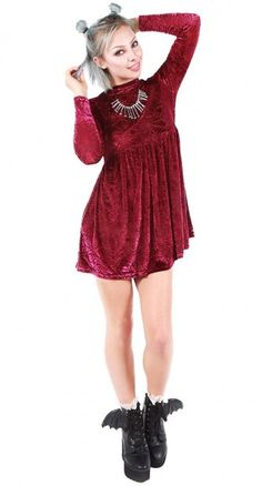 Cripes the Cave Creeps Babydoll Dress is ominously opulent. This long  sleeve dress has a 8535530417