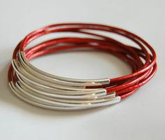 Summer Jewelry Stackable Bangle Bracelets Morrocon Red Leather Bangle Bracelet with by CorinnaMaggyDesigns, $23.00