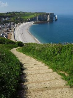 The path to the beach, Normandie, France .