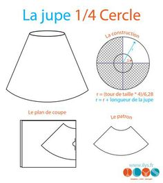 la jupe 1/4 cercle http://www.ilys.fr/4-jupes-faciles-a-coudre-en-moins-dune-heure/