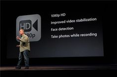 Iphone 5 ... Video as well: 1080p video, the stabilization has improved. Face detection for 10 people, and now you can take photos while you're shooting video.