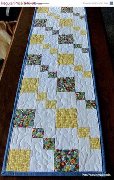 Country Patchwork Quilted Table Runner Blue by PatsPassionQuilteds, $30.00