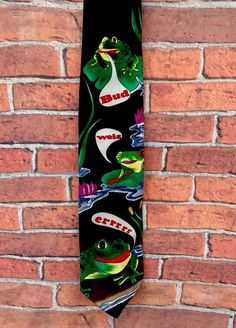 Neck Tie Black Budweiser Frogs 🐸 Vintage 1996 Anheuser Busch genuine collection Brew Pub, Frogs, Brewery, Larger, Ties, Vintage, Accessories, Ebay, Collection