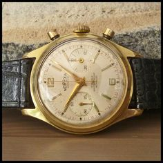 1950's NOREXA Geneve Vintage Chronograph Gold Watch 17j HW Valjoux Cal. 92; 39mm - FREE INSURED SHIPPING WORLDWIDE - £675 Old Watches, Vintage Watches, Watches For Men, Pocket Watches, Fossil Leather Watch, Leather Watch Bands, Cartier, Chronograph, Omega Watch
