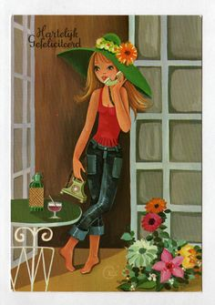 Vintage post card 70s. Mod girl on the telephone.