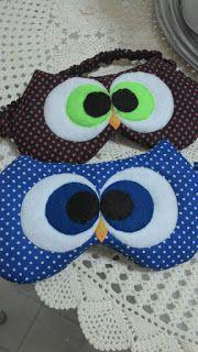 SONHO LILÁS-artesanatos: Máscara para dormir Corujinha!