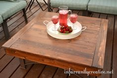 Turn your fire pit into a table. Great idea! via Infarrantly Creative