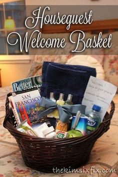 Make Your Guests Feel At Home with A Gift Basket Write out the wi-fi password and network name, and include everything they may need or forget (toiletries, snacks, tissues, towels) via TheKimSixFix.com #BICMerryMarking #CloudNineGrey #ad