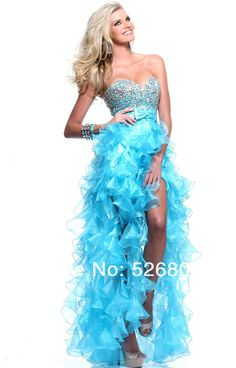 MZ0121 Blue/Fresh Pink Organza Rhinestones Ruffles High Low Princess 2014 Prom Dresses for Teenagers $136.89
