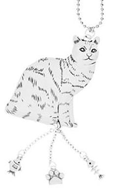 "Cool & Custom {7"" Chain Hang} Single Unit of Rear View Mirror Hanging Ornament Decoration Made of Zinc Alloy w/ Domestic Pet Animals Cute American Shorthair Cat w/ Charms Design [Jetta Silver Colored]"