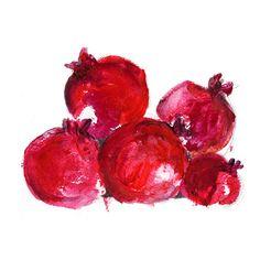 Pomegranates Art print, Pomegranates art, kitchen art, still life, Rosh Hashanah, ruby red, home decor, fruits art, modern art