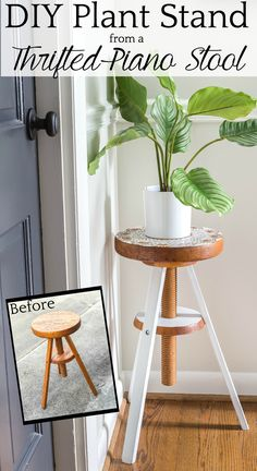 Plant Stand from a Repurposed Piano Stool - Bless'er House A global designer-inspired DIY plant stand made from a thrifted piano stool using just spray paint and a doily for a quick and easy makeover. #plantstand #pianostool #globaldecor #spraypaint #thriftstoreflips #thrifting #diyhomedecor #thriftedhomedecor
