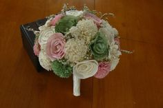 Sola Bouquet Sola Pink and Green Sage Bouquet by TheBloomingCorner,