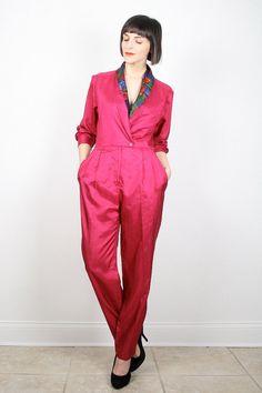 Vintage Jumpsuit Hot Pink Jumpsuit Pantsuit by ShopTwitchVintage