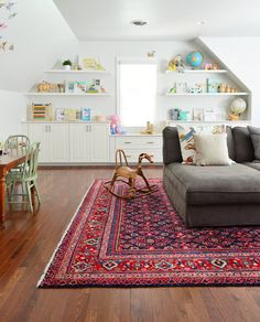 Our Finally Finished Bonus Room (Young House Love) Attic Rooms, Attic Spaces, Kid Spaces, Living Spaces, Bonus Rooms, Bonus Room Playroom, Bonus Room Office, Playroom Rug, Room Above Garage