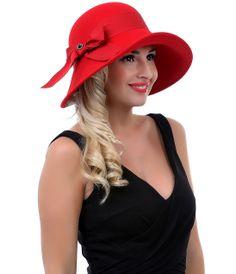 1930 s Style Ruby Wool Felt Emma Hat Vintage Prom 57e1e1ca4840