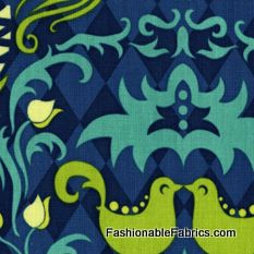 Fabric... Andalucia Birdie Damask in Navy by Patty Young