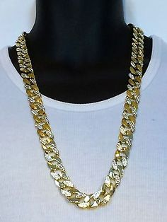 Mens Iced Out 14K Gold Finish Rapper's Miami Cuban Link Chain Necklace